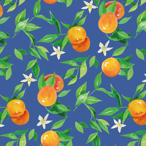 Watercolor Oranges and flowers - on royal blue fabric by aliceelettrica on Spoonflower - custom fabric