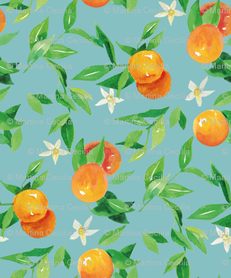 Watercolor Oranges and flowers - on light blue