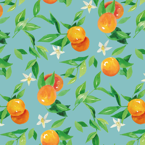 Watercolor Oranges and flowers - on light blue fabric by aliceelettrica on Spoonflower - custom fabric