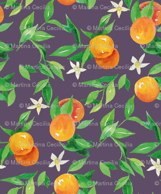 Watercolor Oranges and flowers - on blue