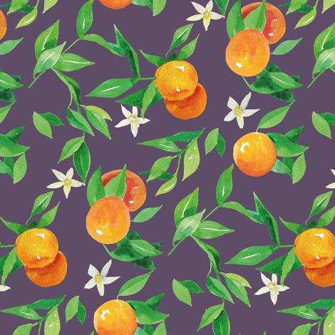 Watercolor Oranges and flowers - on blue fabric by aliceelettrica on Spoonflower - custom fabric