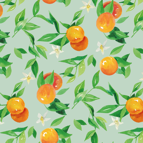 Watercolor Oranges and flowers - on green fabric by aliceelettrica on Spoonflower - custom fabric