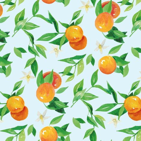 Watercolor Oranges and flowers - on baby blue fabric by aliceelettrica on Spoonflower - custom fabric