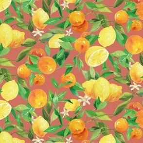 Watercolor Oranges and Lemons - on brown