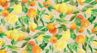 Watercolor Oranges and Lemons - on taupe