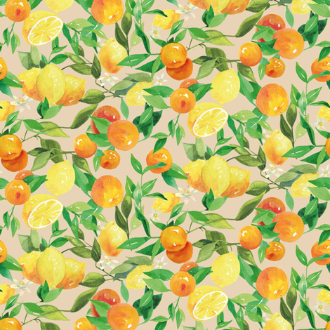 Watercolor Oranges and Lemons - on taupe fabric by aliceelettrica on Spoonflower - custom fabric