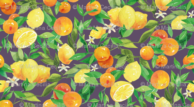 Watercolor Oranges and Lemons - on blue