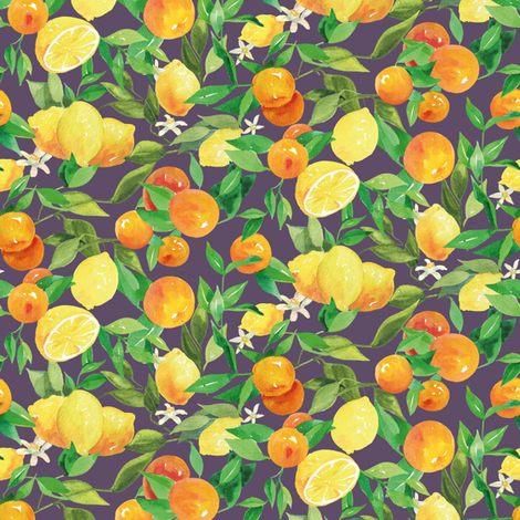 Watercolor Oranges and Lemons - on blue fabric by aliceelettrica on Spoonflower - custom fabric