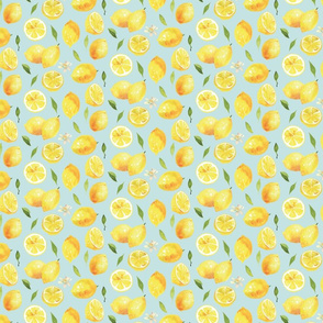 Watercolor Lemons - on baby blue
