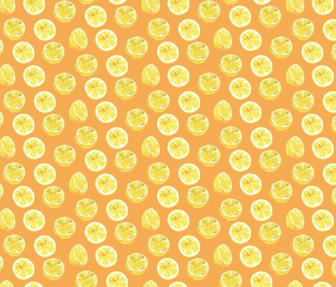 Watercolor Lemon Slices Polka dots - orange fabric by aliceelettrica on Spoonflower - custom fabric