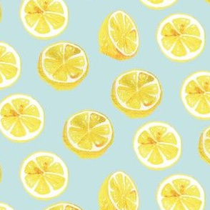 Watercolor Lemon Slices Polka-dots - light teal