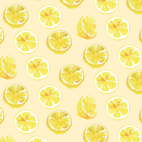 Watercolor Lemon Slices Polka dots - light yellow fabric by aliceelettrica on Spoonflower - custom fabric