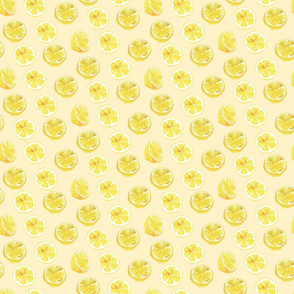 Watercolor Lemon Slices Polka dots - light yellow