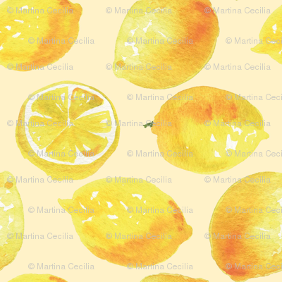 Watercolor Lemons Polka dots - yellow lemonade