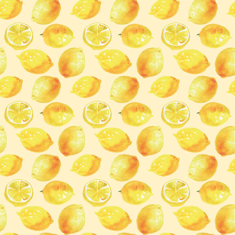 Watercolor Lemons Polka dots - yellow lemonade fabric by aliceelettrica on Spoonflower - custom fabric