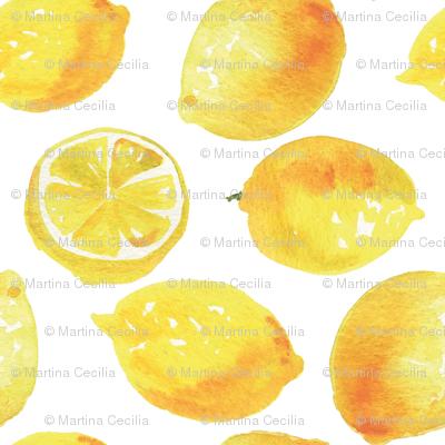 Watercolor Lemons Polka dots - yellow and white