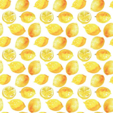 Watercolor Lemons Polka dots - yellow and white fabric by aliceelettrica on Spoonflower - custom fabric