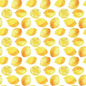 Watercolor Lemons Polka dots - yellow and white