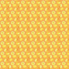 Watercolor Lemons Polka dots - yellow and orange