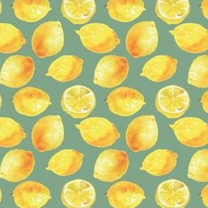 Watercolor Lemons Polka dots - yellow and green