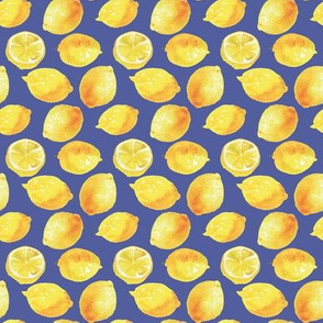 Watercolor Lemons Polka dots - yellow and blue