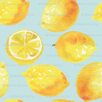 Watercolor Lemons Polka dots