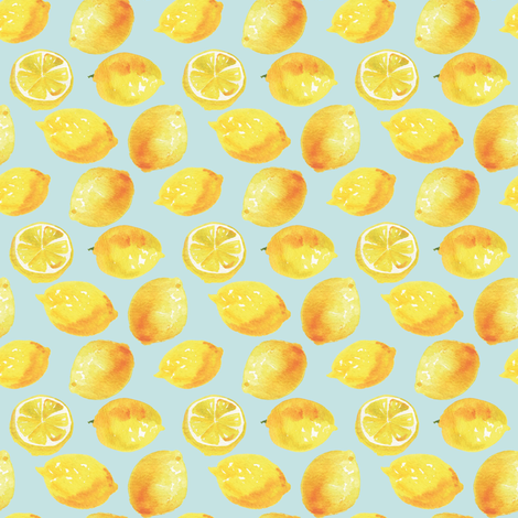Watercolor Lemons Polka dots fabric by aliceelettrica on Spoonflower - custom fabric