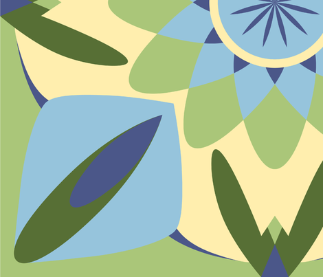 Flora and Spike Design -1  fabric by reannalilydesigns on Spoonflower - custom fabric