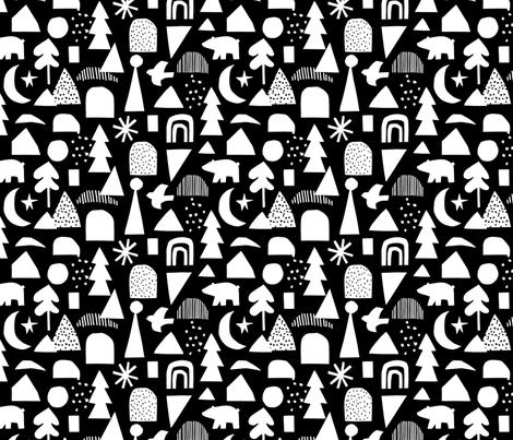 geometric christmas (black background) fabric by mfa_ on Spoonflower - custom fabric