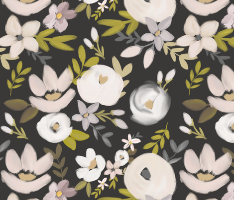 Modern Moody Fall Floral Nudes and Neutrals - Charcoal  fabric by smallhoursshop on Spoonflower - custom fabric