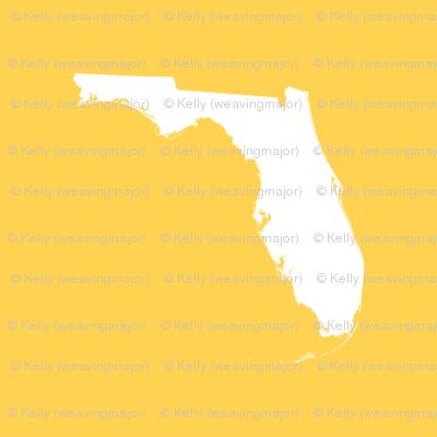"""Florida silhouette - 3"""" white on yellow"""