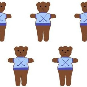 TE_55597_A GOLFING_Teddy bear with sweater with golf  club and golf ball