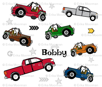 jeeps pickups 105 arrows stars - white forest jeep-PERSONALIZED Bobby