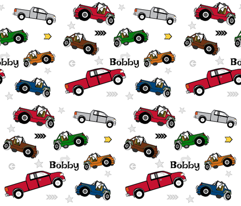 jeeps pickups 105 arrows stars - white forest jeep-PERSONALIZED Bobby fabric by drapestudio on Spoonflower - custom fabric