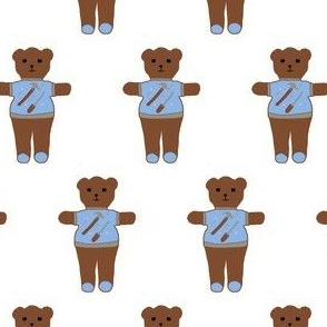 TE_55632_A_ Teddy bear with sweater of carpenter tools, hammer, screw driver with nuts, bolts and nails