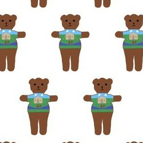 TE_55633_A_Teddy bear with sweater with camping site of tent and camp fire and clouds