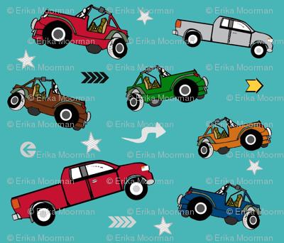 jeeps pickups 7 arrows stars - aqua forest jeep