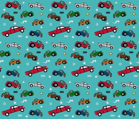 jeeps pickups 7 arrows stars - aqua forest jeep fabric by drapestudio on Spoonflower - custom fabric