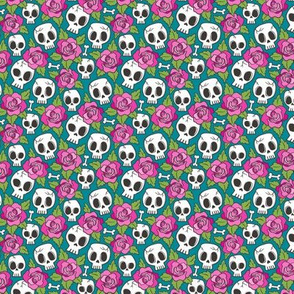 Skulls and Roses Pink on Teal Tiny Small