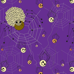 Mama and spiderlings in purple background