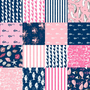 ROTATED - nautical wholecloth cheater quilt fabric navy and pink fabric