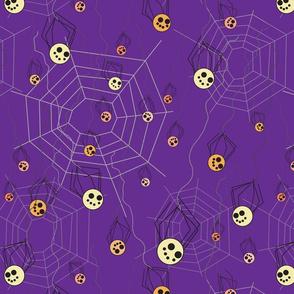 Baby Spiderlings swinging from webs