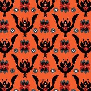Boho Black Red Floral Pattern