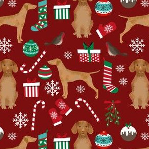 vizsla dog christmas print - christmas fabric, dog, dogs, dog breed, candy cane, presents xmas