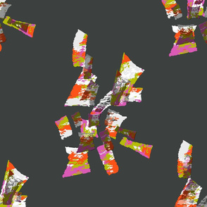 Movement - pink, green and orange on gray