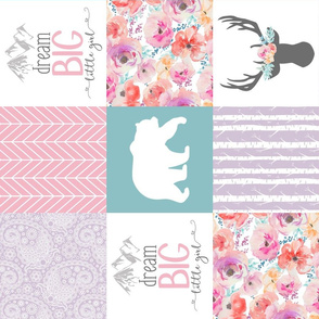 Dream Big Little Girl//Pink, Lavender, Turquoise - Wholecloth Cheater Quilt