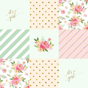 It's A Girl Patchwork Quilt Top Pattern | Peach and Pink Peony Collection