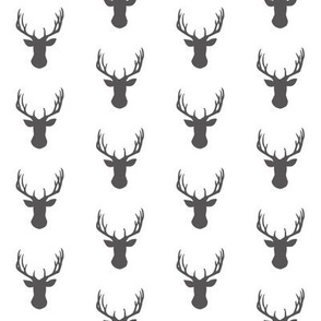 Grey Deer Head Silhouettes on white
