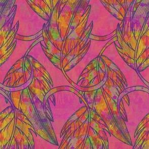 Falling leaves, Fuchsia, Large