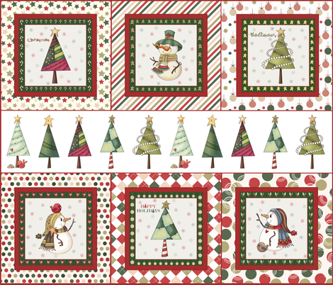 """Christmas panel fabric, 14"""" pillow size fabric by evault on Spoonflower - custom fabric"""